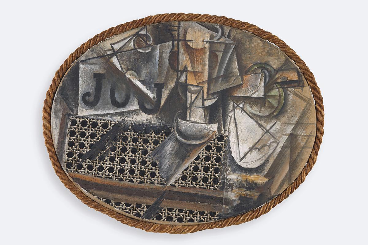 Pablo Picasso; Stillleben mit Rohrstuhlgeflecht / Nature morte à l chaise cannée / Still life with chair caning; Frühjahr 1912