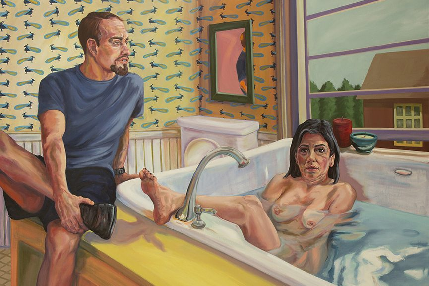 Patty Horing - Master Bath - 2015 - Oil on canvas - 59 x 77 inches