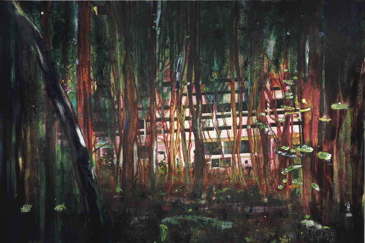 Peter Doig - Cabin Essence, 1993-4, via artnews com