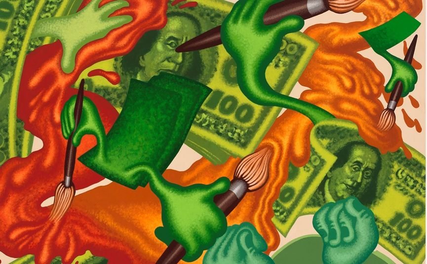 Peter Saul - Art and Monkey (detail), 2015. acrylic on canvas