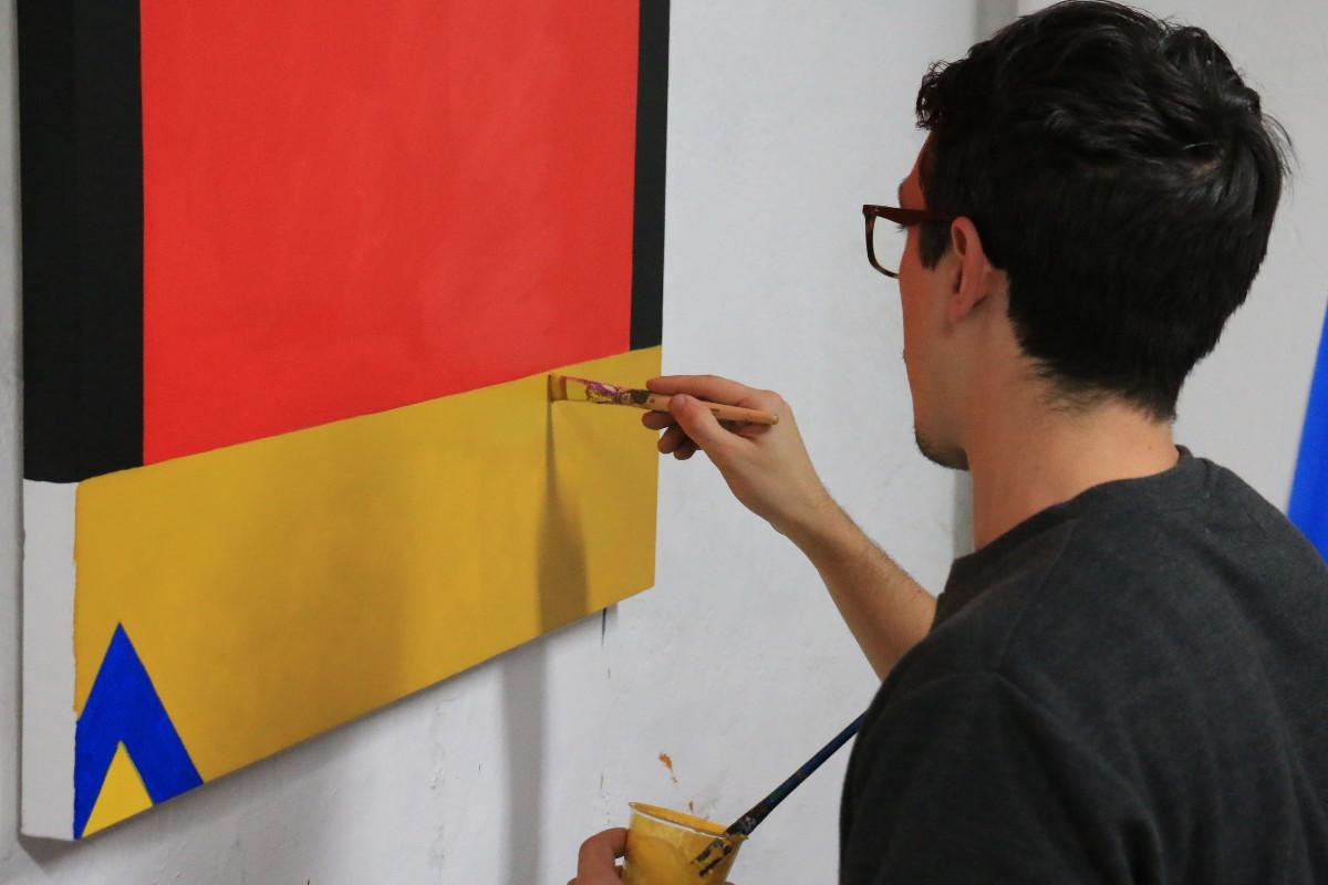 Photo of Agostino Iacurci Working in His Studio