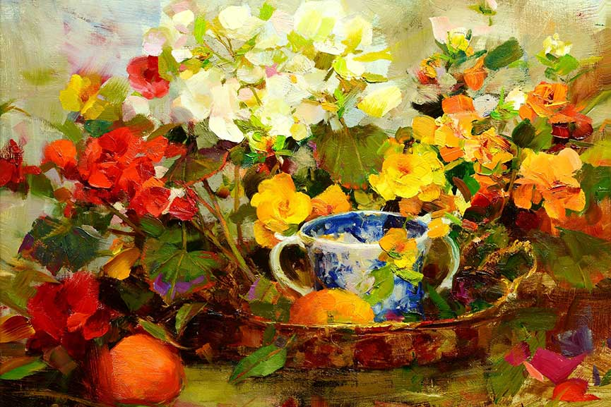 Richard-Schmid---Begonias,-detail