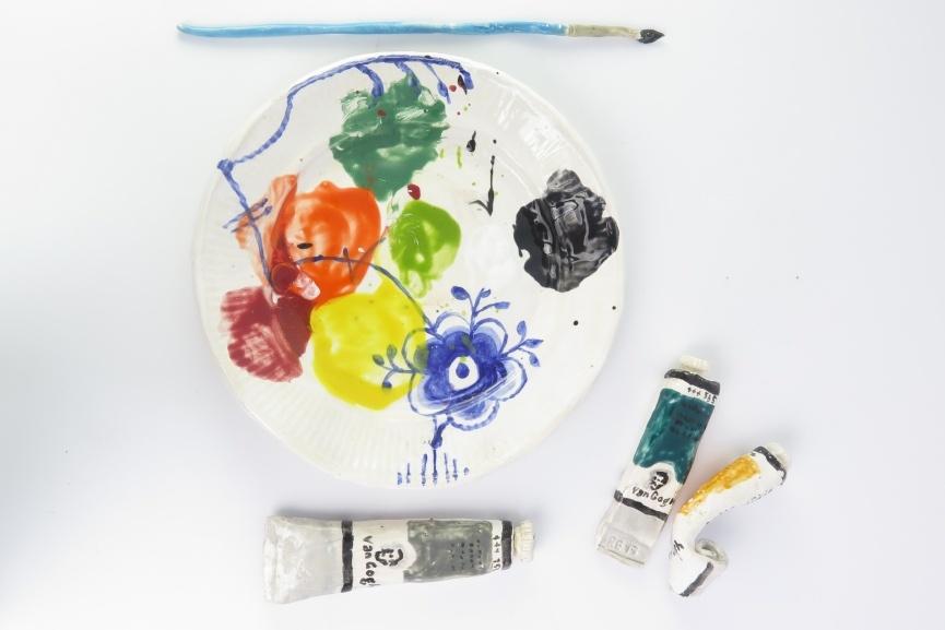 Rose Eken - Mega Mussel Palette and Blue Brush 3xVan Gogh Paint, 2015