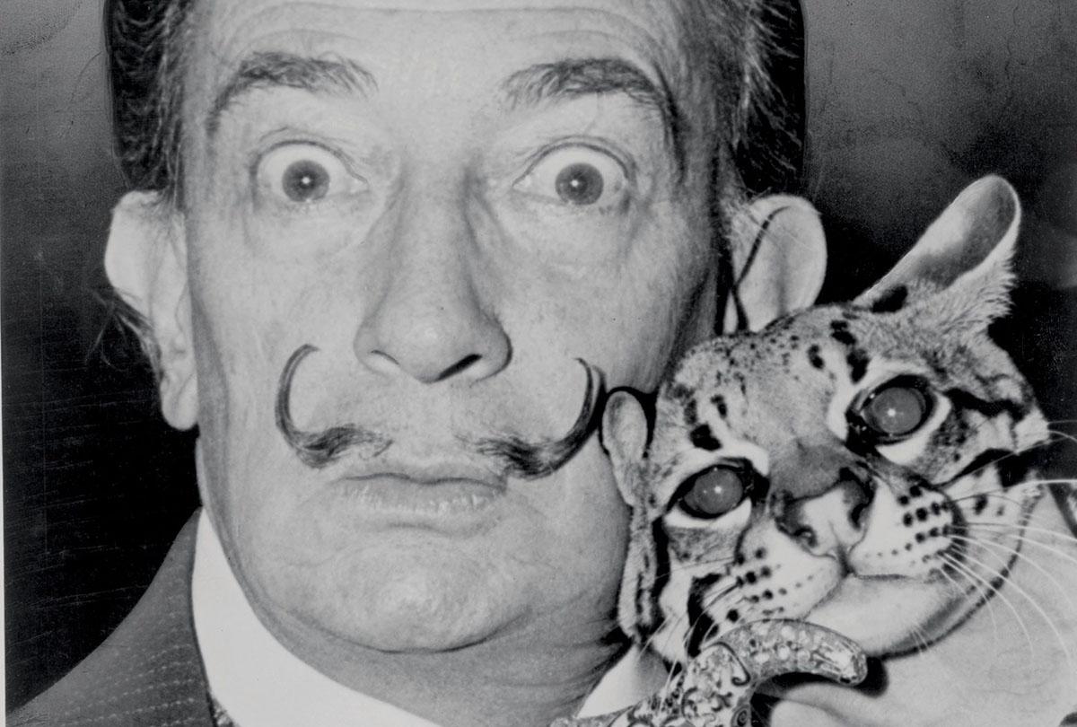 Salvador Dalí and his pet ocelot. Photograph- Library of Congress