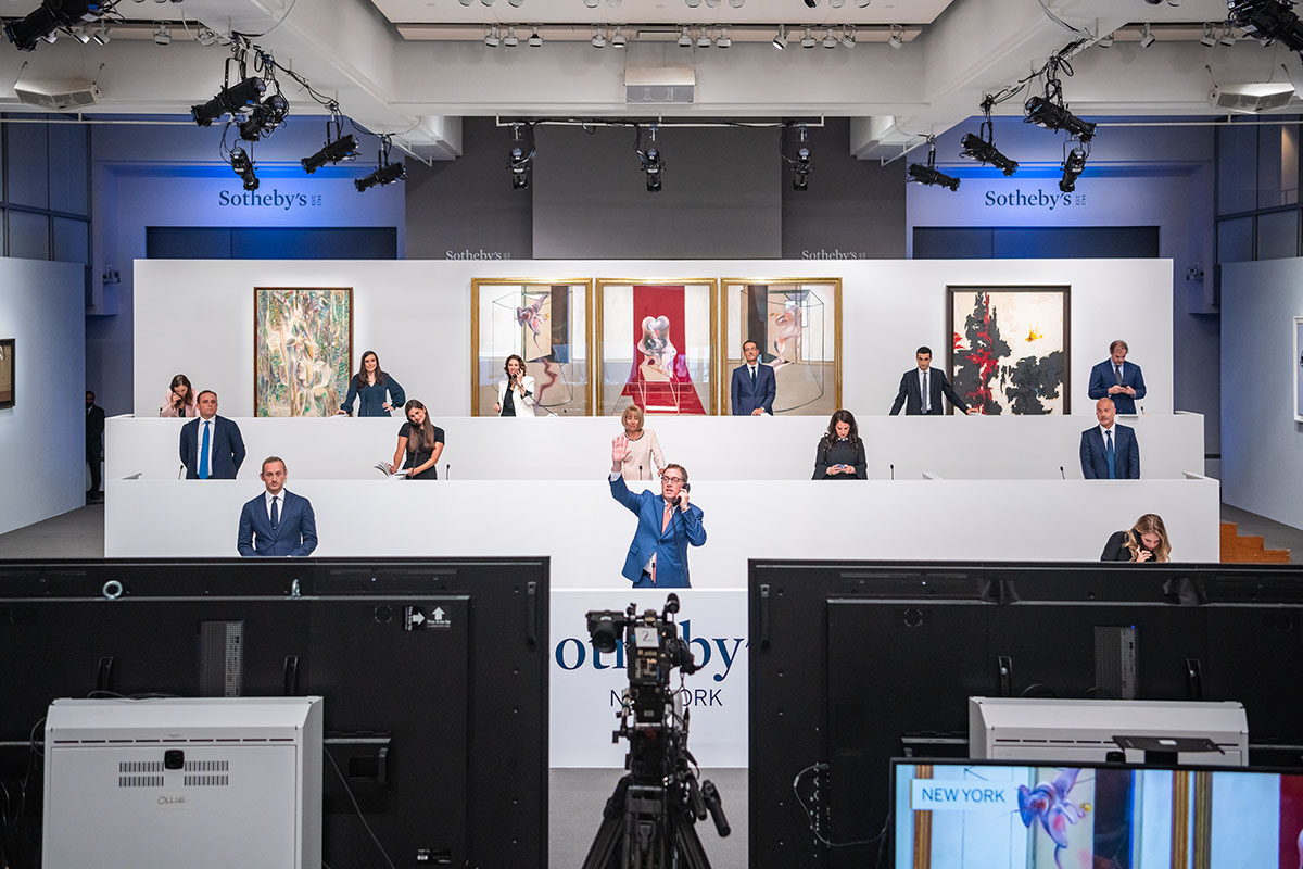 Specialists bidding in New York during Sotheby's Contemporary Art Evening Auction, 28 June 2020. Courtesy Sotheby's