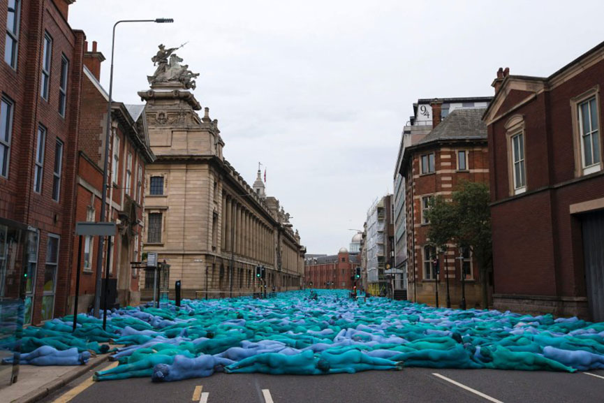 Mass Naked Art Event By Spencer Tunick Turned Hull Blue Widewalls