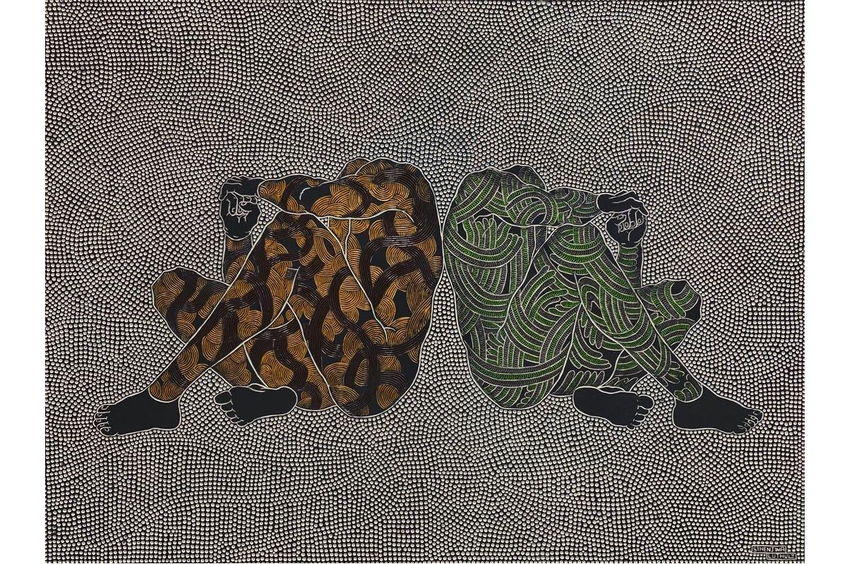 Sthenjwa Luthuli, Untold Stories, 2020, Hand carved wood _ paint, 149 x 198 cm, courtesy Unit London