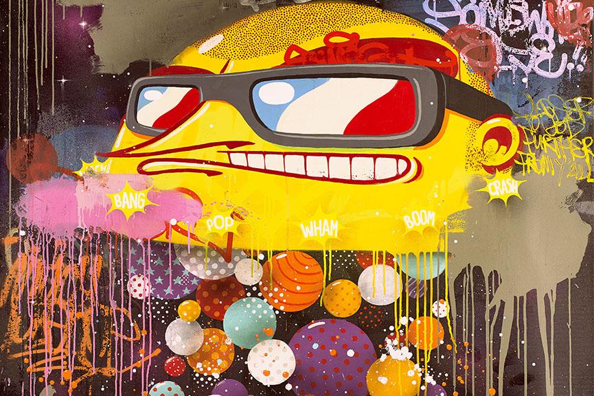 Sumo - Bataclan, 2016. Acrylics and aerosol on canvas, 170x130cm