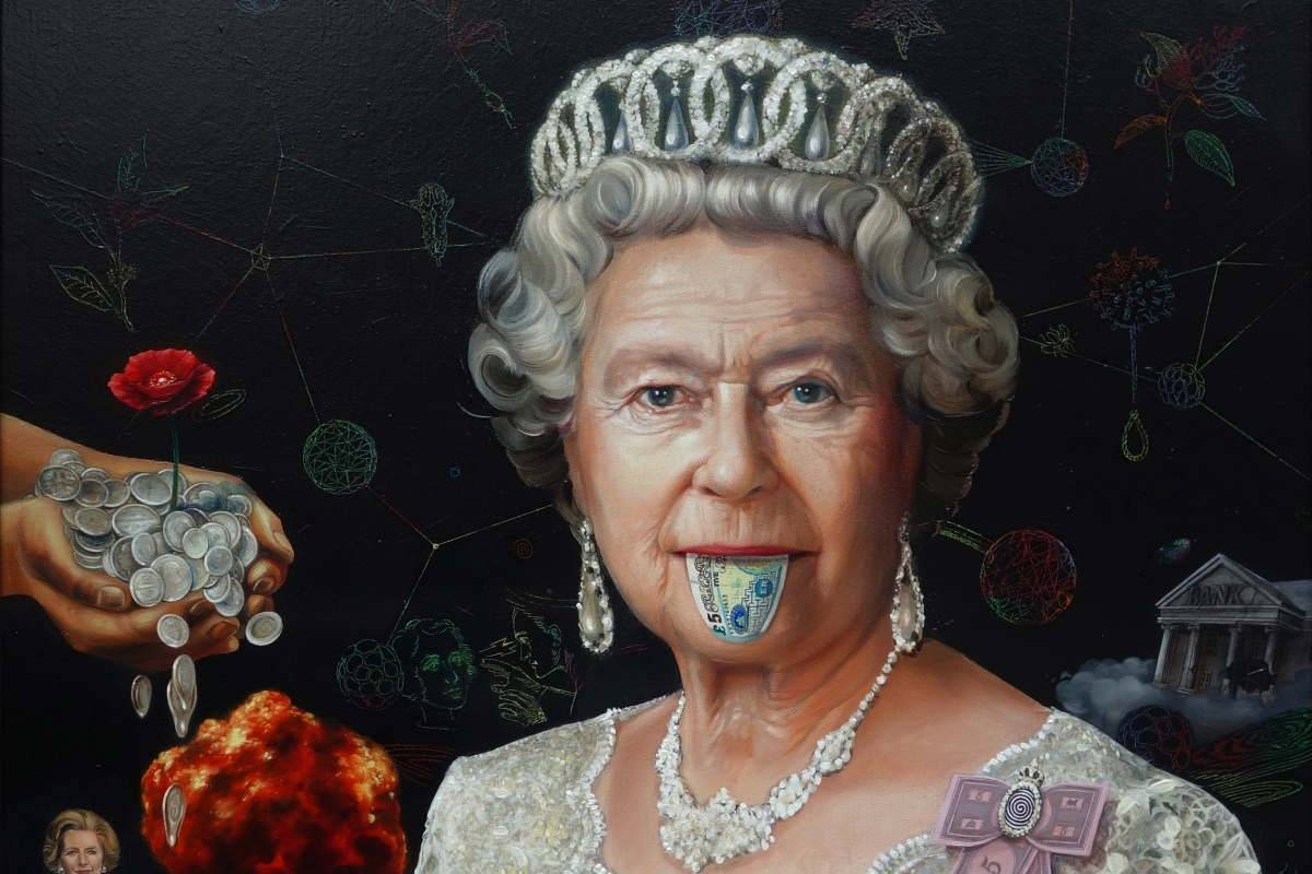 Super A, Queen Elizabeth II, 2015, 95 x 113cm, oil on canvas