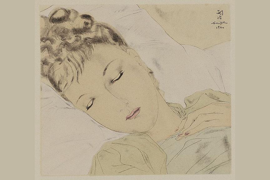 Tsuguharu Foujita illustration for Combat Avec L'Image, 1941
