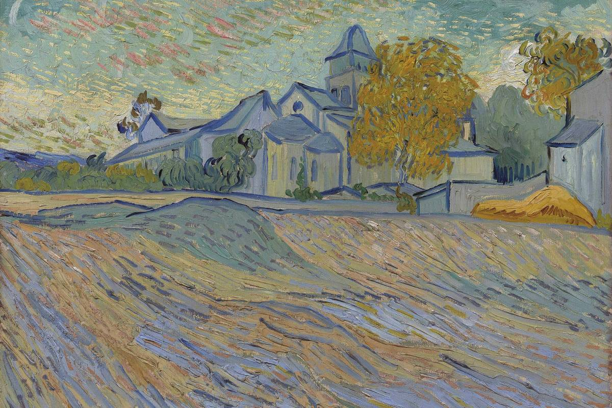 Vincent Van Gogh - Vue de l'asile et de la Chapelle Saint-Paul de Mausole (Saint-Rémy), oil on canvas, Painted in Saint-Rémy, autumn 1889
