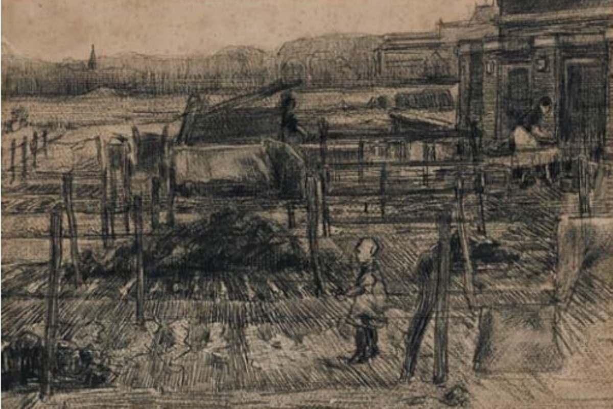 Vincent van Gogh - Backyard with two figures, 1882