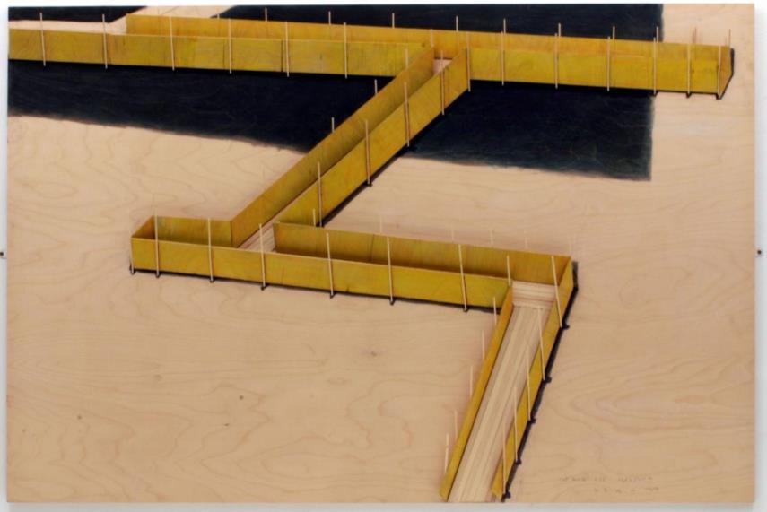 Tadashi Kawamata - Catwalk (1), 2004, balsa wood, paint and pencil on plywood