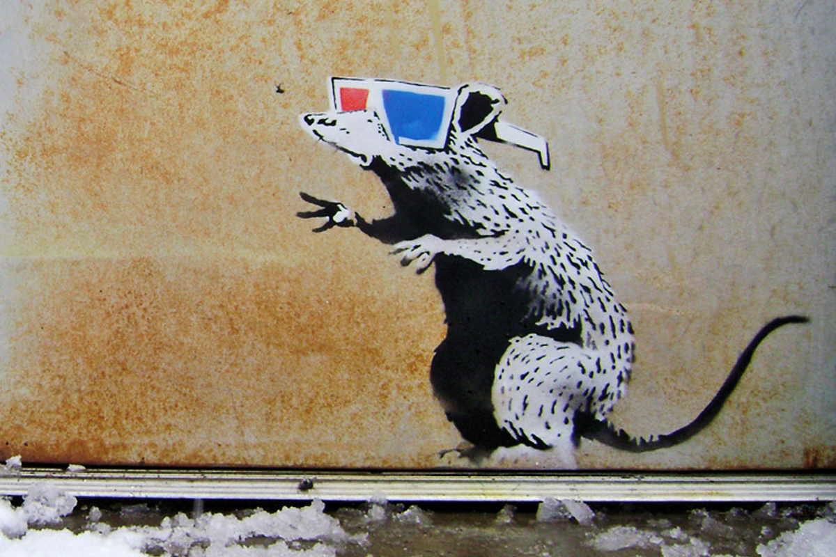 Banksy - 3D Glasses Rat, Park City, Utah, 2010