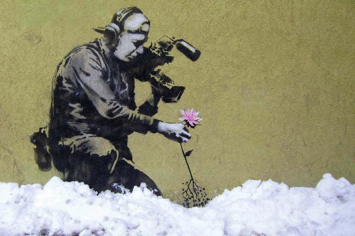 Banksy - Cameraman and Flower, Park City, Utah, 2010