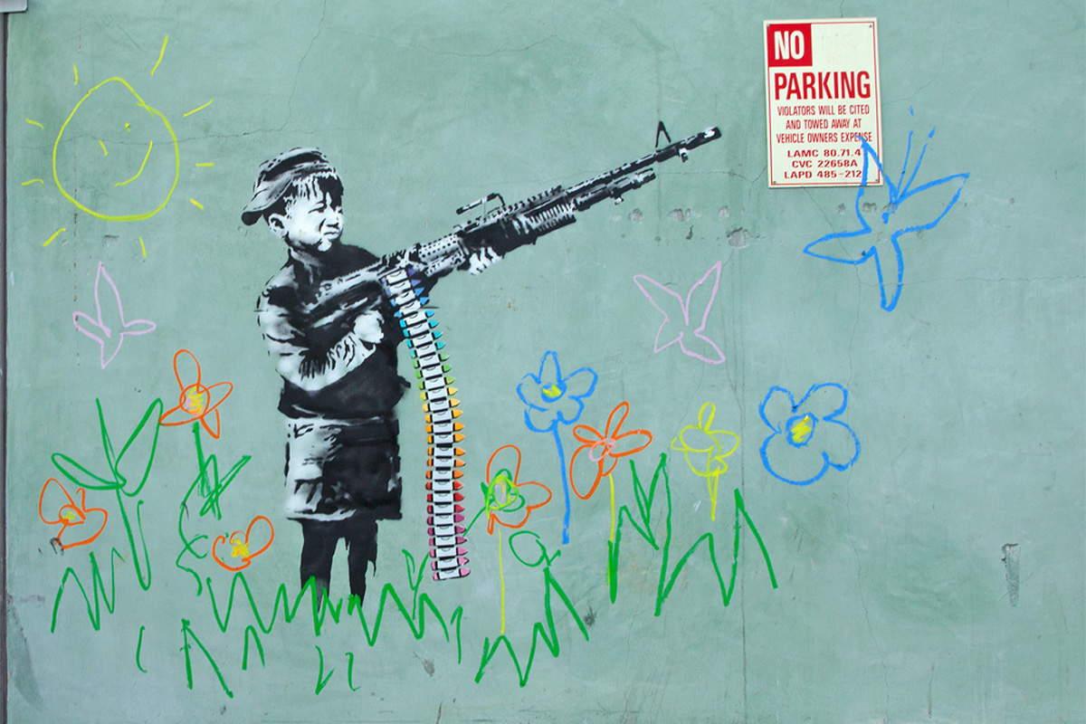 Banksy - Crayola Shooter, Los Angeles 2011