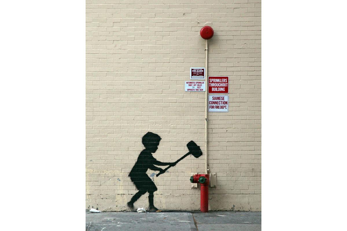 Banksy - Hammer Boy, Upper West Side, New York 2013