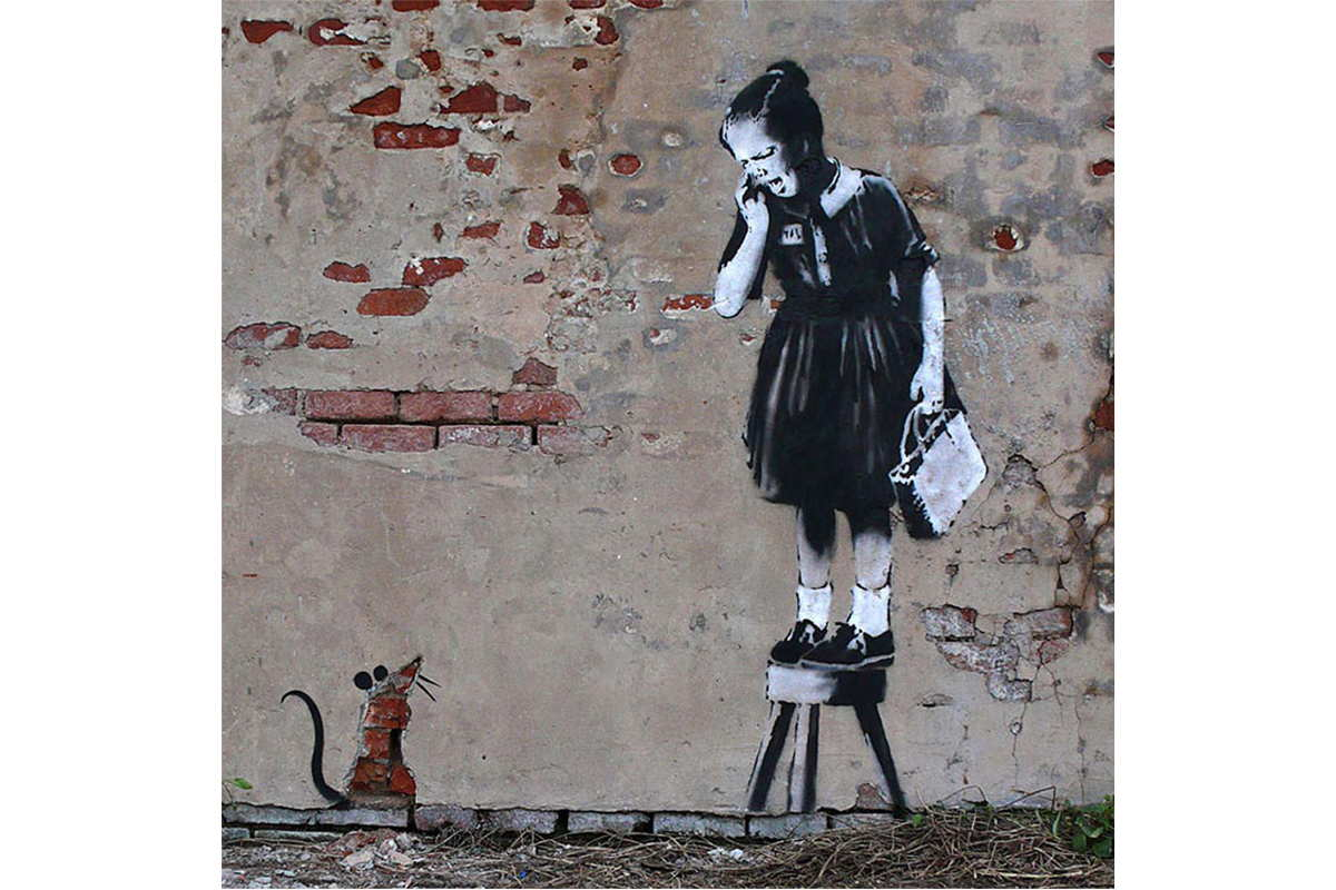 Banksy - Girl and Mouse (Girl On Stool), New Orleans, 2008