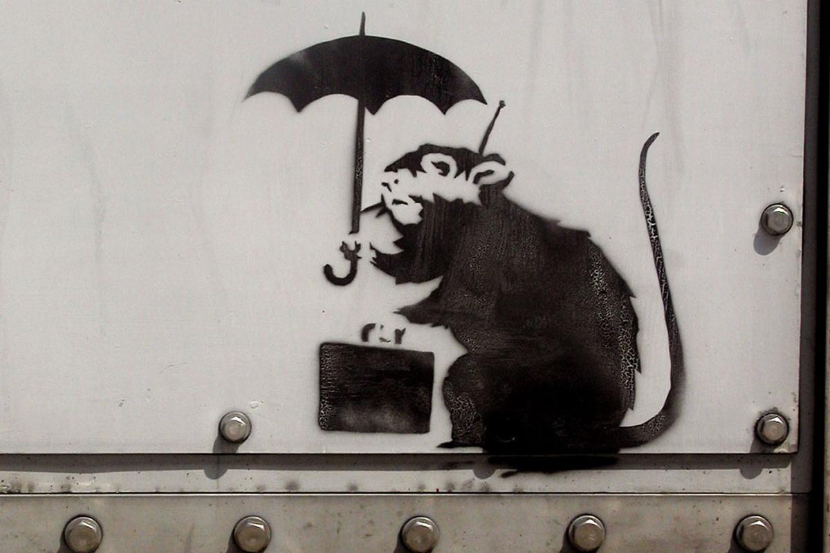 Banksy - Rat Rain,  Brick Lane, London 2003