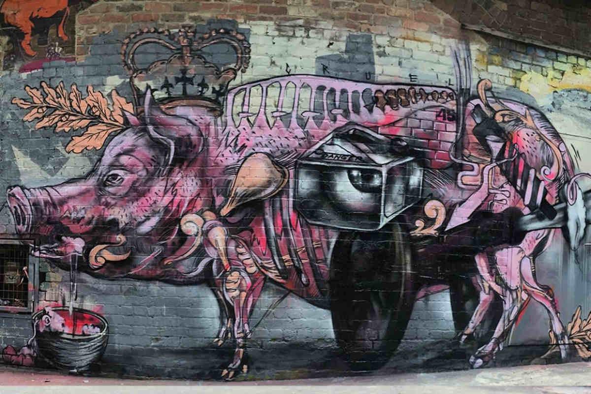 Cezary Stulgis x Benjamin Reeve - The Naked Queen, Melbourne, Australia 2015 (detail)