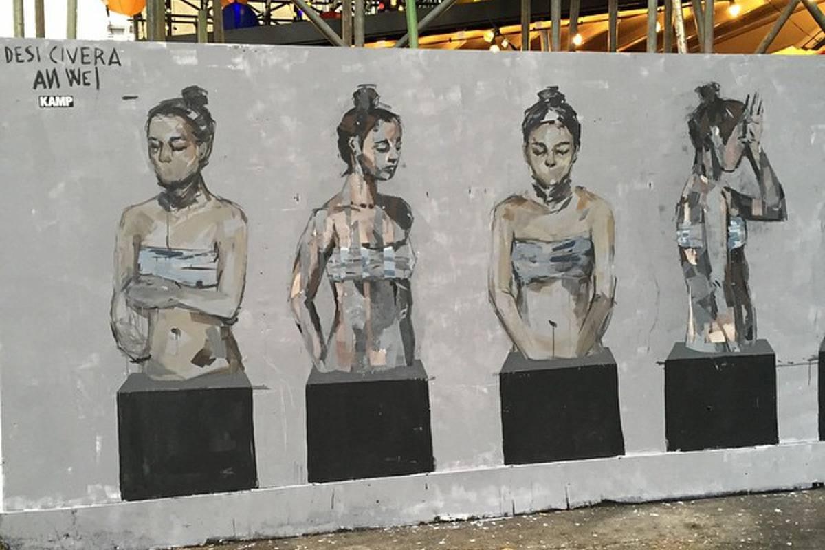 Desi Civera x An Wei - mural in London - Dray Walk, London, 2015