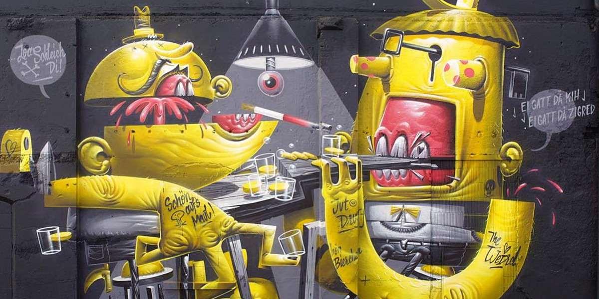 HRVB the Weird - I Got the Key, I Got the Secret (detail), mural for Deadline festival, Munich, 2016