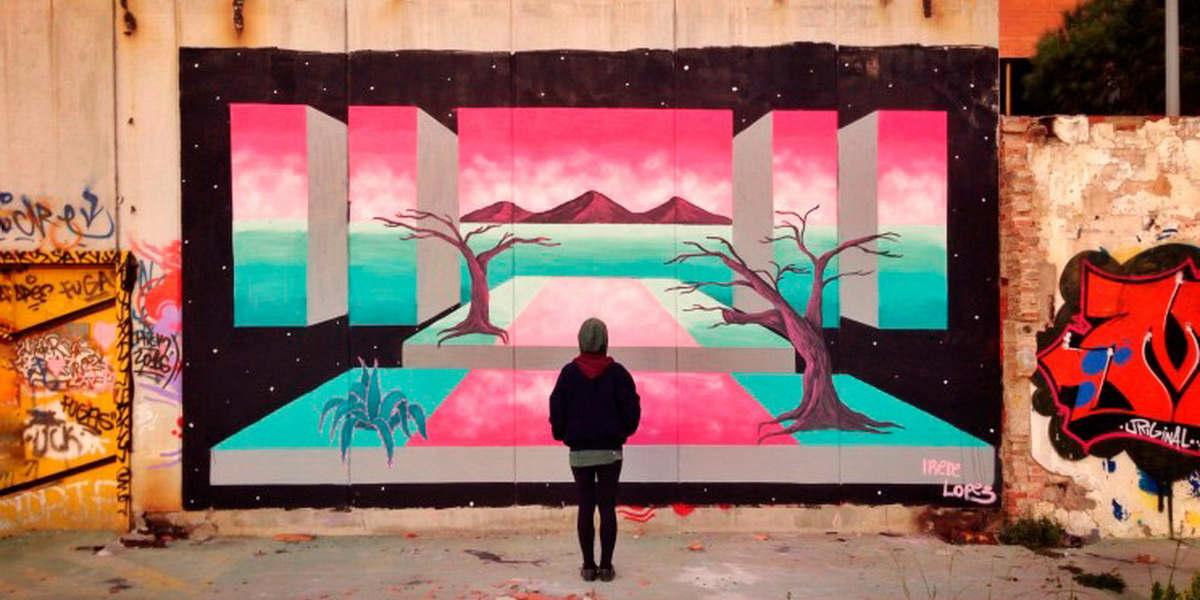 Irene Lopez Leon - Puerta espacial – Large Landscape Mural, 2017