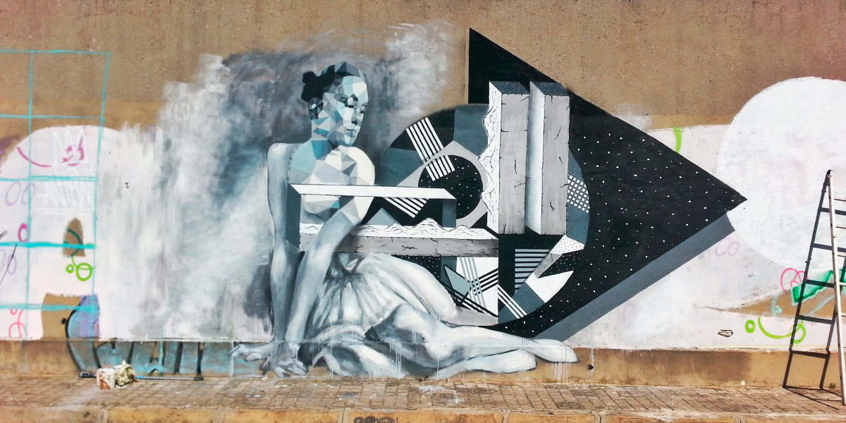 Irene Lopez Leon - The Dancer, Mural combo with Uriginal