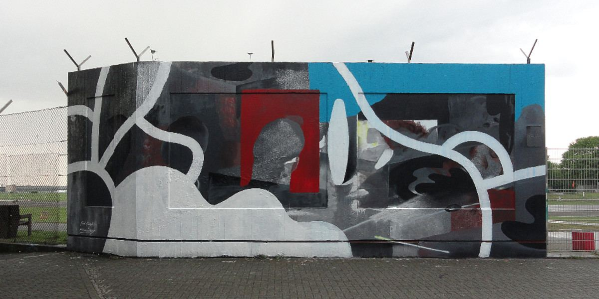 Johannes Mundinger and Kid Cash - mural at Berlin Tempelhof Airport, 2016