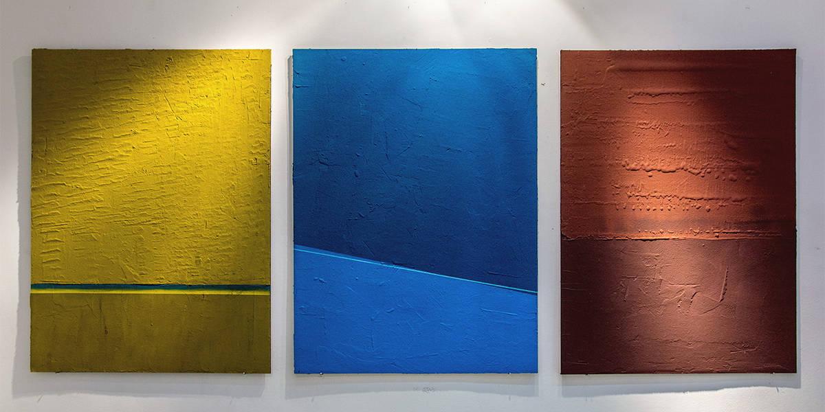 Nikola Mihajlovic - Yellow Blue Red Cosmic Noise Solo exhibition at Parobrod, 2016, Belgrade - image courtesy of the artist