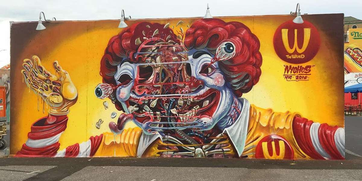 Nychos - Exploding Ronald's head, New York, 2016 - Image courtesy of Nychos