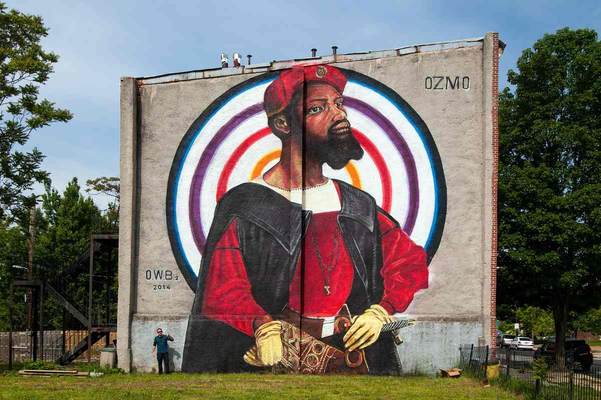OZMO - Portrait of a black man - Open Walls 02, Baltimore, US, 2014