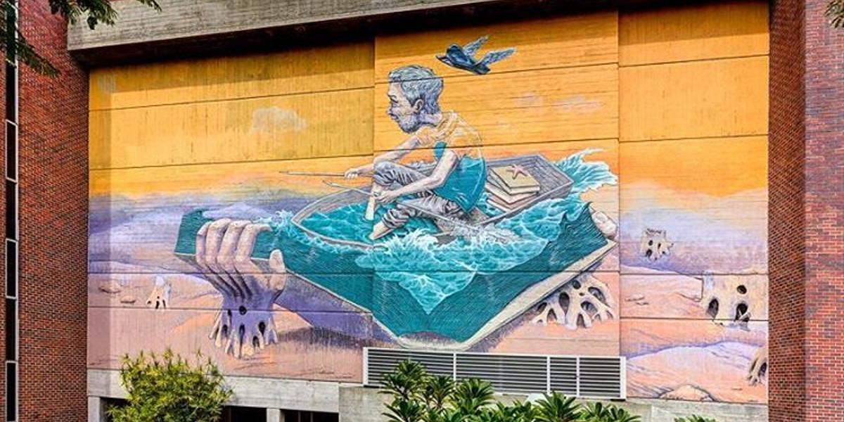 Rustam Qbic - Sailor Story, mural for Public 2016, Perth, Australia
